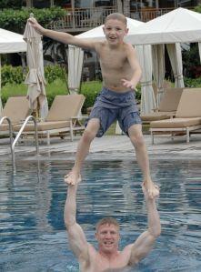 Mack and I Swimming