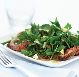 Watercress steak salad